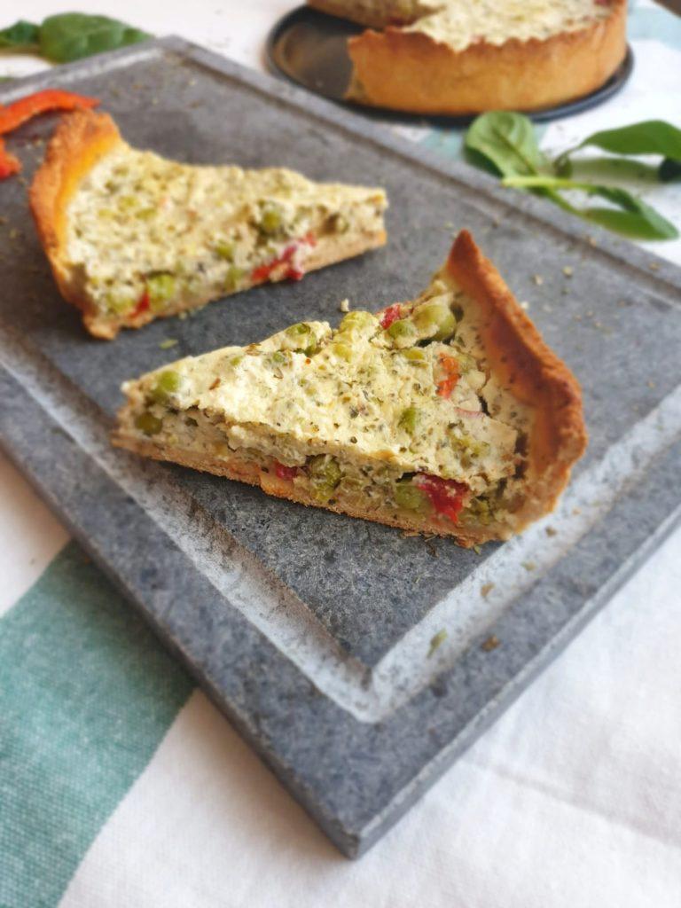 Tarta z zielonym groszkiem na cieście bez masła i białej mąki