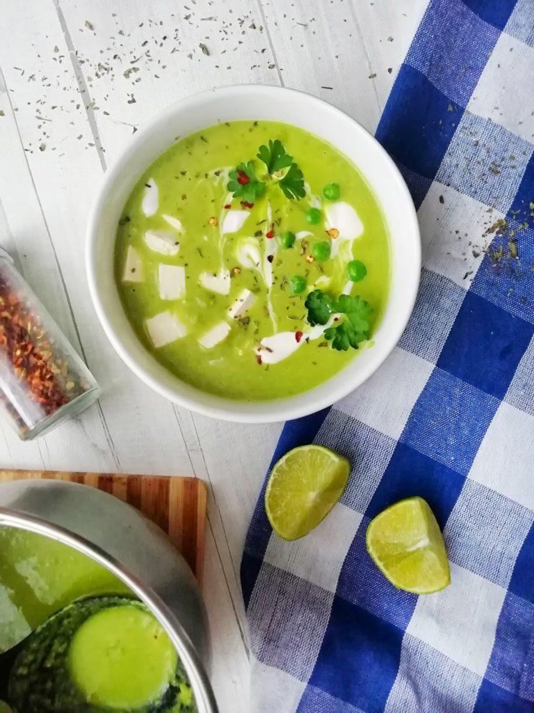 Orientalna zupa krem kokosowa z zielonego groszku
